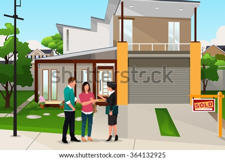 A vector illustration of real estate agent handing the key to a couple - stock vector