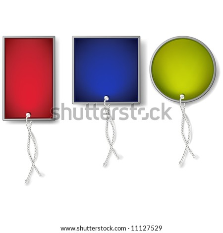 A vector illustration of red, blue, and green colored tags for price, sales, and design needs. Modern in design. Stationary elements. - stock vector