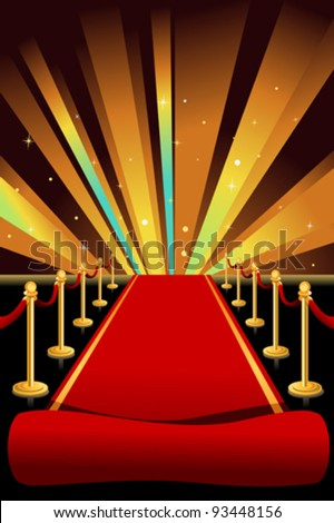 A vector illustration of red carpet background - stock vector