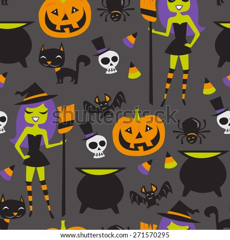A vector illustration of retro halloween witch party theme seamless pattern background. - stock vector