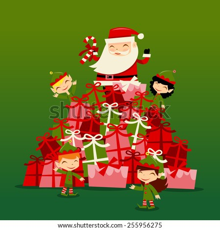 A vector illustration of retro inspired christmas santa and his cute elves surrounding a huge gifts stack. - stock vector