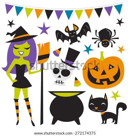 A vector illustration of retro inspired halloween witch party set. - stock vector