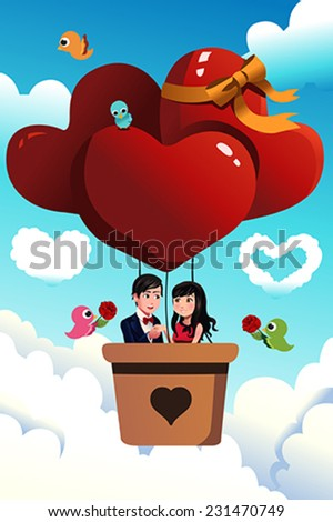 A vector illustration of romantic young couple riding a hot air balloon for valentine day concept - stock vector