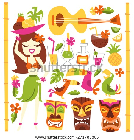 A vector illustration of 1960s retro inspired cute hawaiian luau party design elements set. Included in this set:- hawaiian girl, cocktails, coconut, pineapple, ukelele, tropical birds, tiki statues.  - stock vector