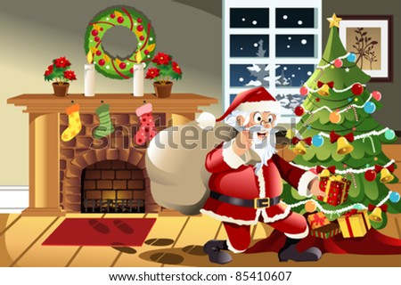 A vector illustration of Santa Claus carrying a bag of Christmas presents dropping a present under the Christmas tree