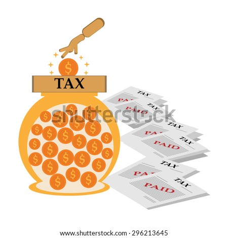 A vector illustration of savings for tax payers,taxes icon design. - stock vector