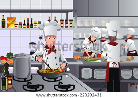 A vector illustration of scene inside a busy modern restaurant kitchen - stock vector