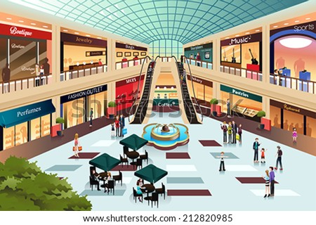 A vector illustration of scene inside shopping mall - stock vector