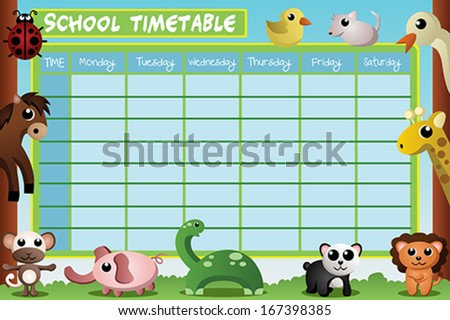 A vector illustration of school timetable design - stock vector