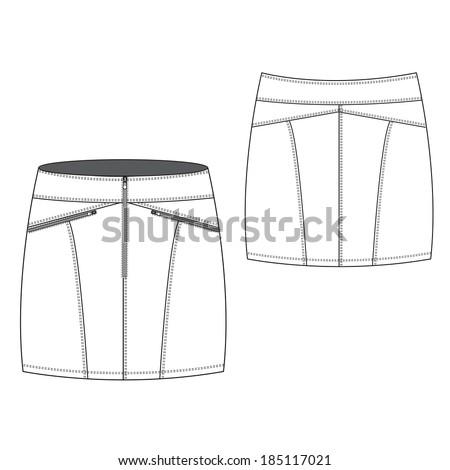 A Vector illustration of Sexy Zipped Mini Skirt - stock vector