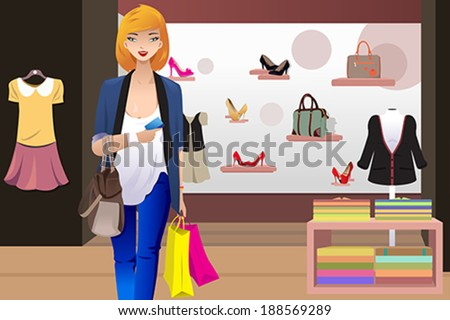 A vector illustration of shopping woman inside the clothing store holding a credit card - stock vector