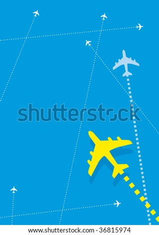 A vector illustration of some planes in the blue sky