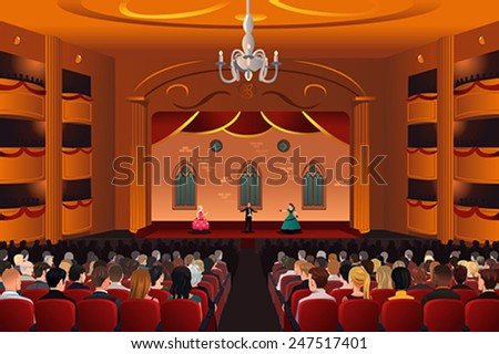A vector illustration of spectators inside a theater - stock vector