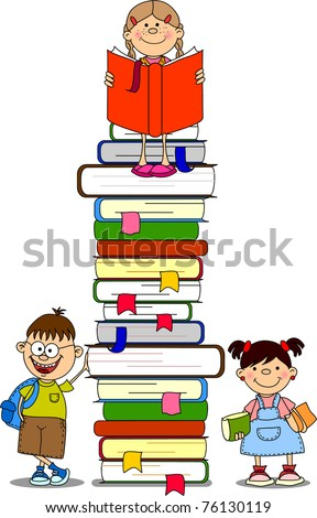 A vector illustration of students and books