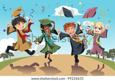 A vector illustration of students celebrating graduation - stock vector