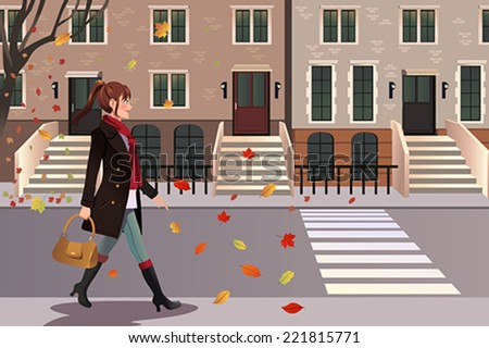 A vector illustration of stylish girl walking in New York city - stock vector