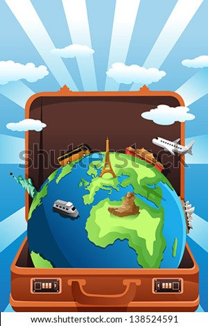 A vector illustration of suitcase with globe in it for travel concept - stock vector