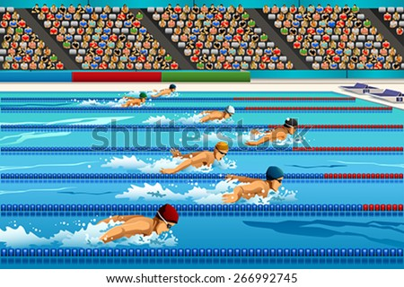 A vector illustration of swimmers during swimming competition for sport competition series  - stock vector