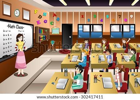 A vector illustration of teacher teaching math in a classroom - stock vector