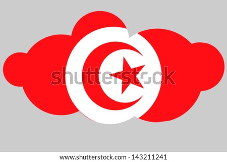 A vector illustration of the flag of Tunisia in the shape of a cloud