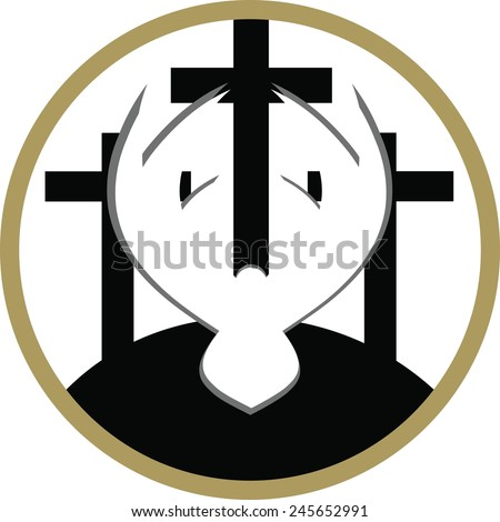 A vector illustration of three crosses on a white and gold circle background, with a white dove in the foreground, representing the crucifixion and resurrection of Christ. - stock vector