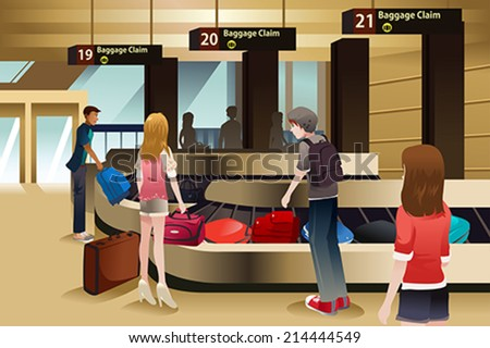 A vector illustration of travelers waiting for their baggage at the baggage claim area - stock vector