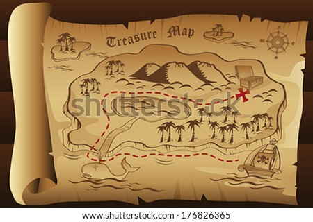 A vector illustration of treasure map - stock vector