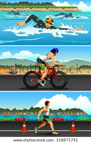 A vector illustration of triathlon sport for sport competition series - stock vector