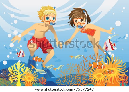 A vector illustration of two kids swimming and diving underwater in the ocean - stock vector