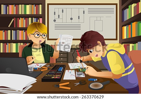 A vector illustration of two kids working on an electronic project - stock vector