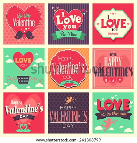 A vector illustration of  Valentines day cards with ornament - stock vector