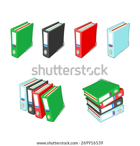 A vector illustration of various A4 folders single or in stacks. Ring Binder Folder. Cartoon folders with paperwork. - stock vector