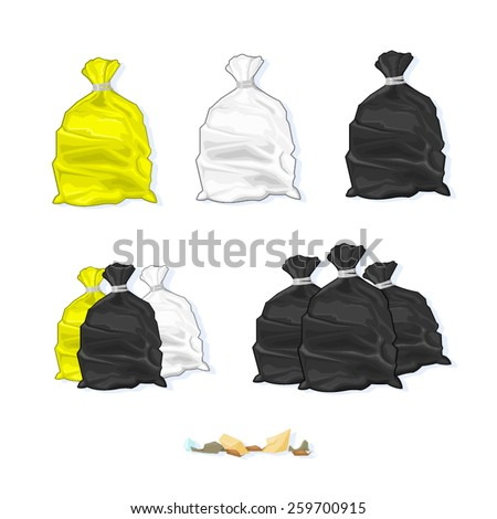 A vector illustration of various full and tied Refuse Plastic Sacks. Refuse Sacks. Plastic Trash bags. - stock vector