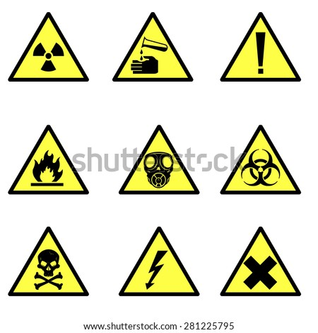 A vector illustration of various hazard icon signs. Warning hazard icon illustrations. Universal symbols for hazards. - stock vector