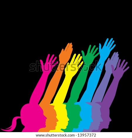 A vector illustration of various men and men and women holding their hands up to symbolize human diversity, isolated on a black background with additional space for text - stock vector