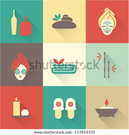 a Vector illustration of various spa icons - stock vector