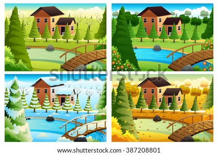 A vector illustration of village in four seasons