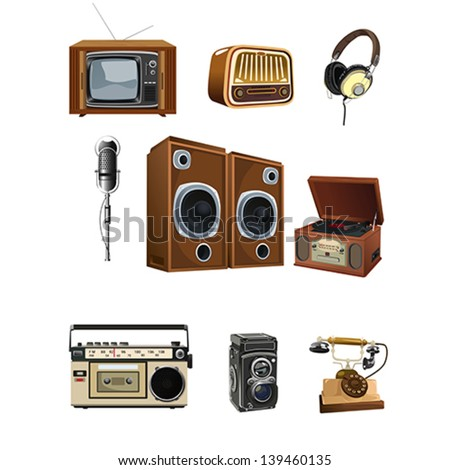 A vector illustration of vintage media stuff icon sets - stock vector