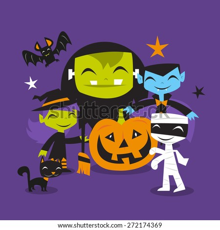 A vector illustration of whimsical and jolly halloween monsters scene.