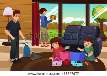 Vector illustration whole family cleaning house stock for Cleaning out deceased parents home