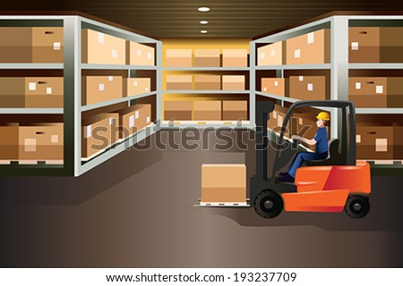 A vector illustration of worker driving a forklift in a warehouse - stock vector