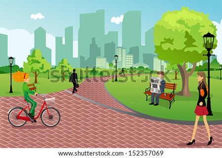 A vector illustration of young modern trendy people in a city park doing activities - stock vector