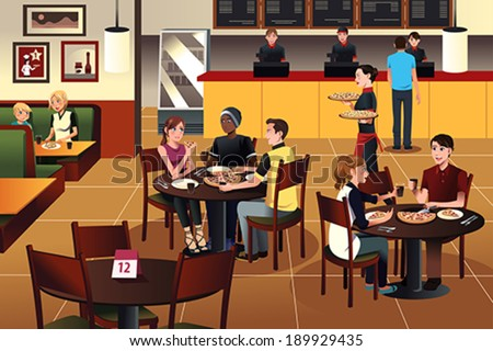 A vector illustration of young people eating pizza together in a restaurant - stock vector