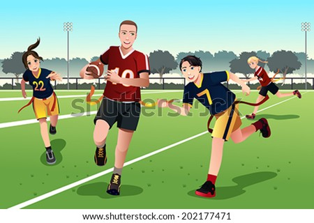 A vector illustration of young people playing flag football - stock vector