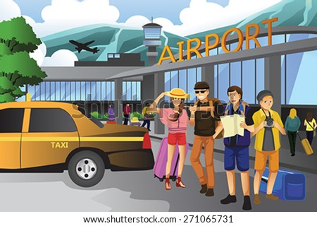 A vector illustration of young people traveling together - stock vector