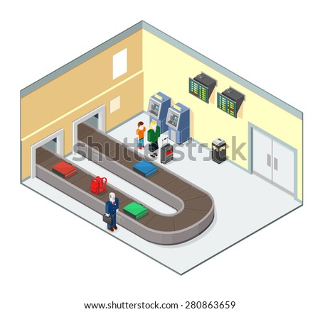 A vector illustration set in a modern airport baggage reclaim interior. Isometric Baggage Reclaim illustration icon. Interior of modern airport. With baggage on conveyor belt. - stock vector
