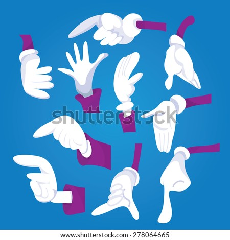 A vector illustration set of different cartoon hand gestures like pointing, presenting and holding objects. - stock vector