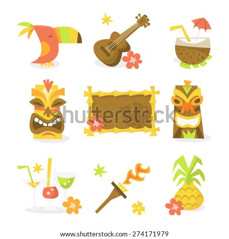 A vector illustration set of nine different luau tiki party theme like toucan bird, guitar, ukulele, coconut juice, tiki statues, tiki sign, tropical cocktails, flame torch and pineapple. - stock vector