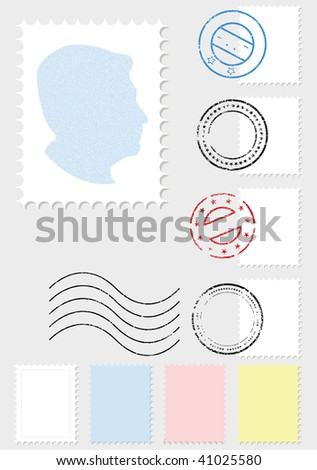 A vector illustration set of stamps and postmarks. All objects and details are isolated. Colors and gray background color are easy to adjust/customize. - stock vector