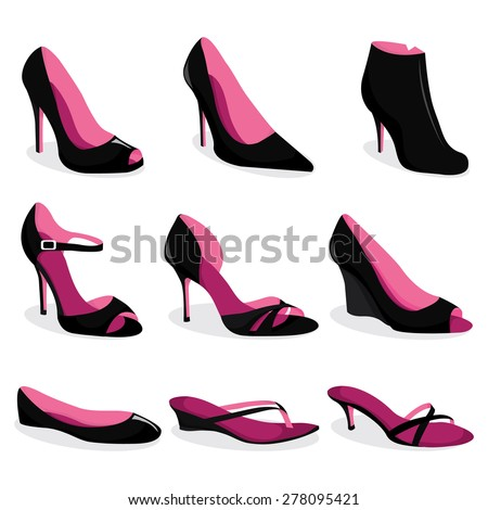 A vector illustration set of women's dress shoes and casual shoes. - stock vector